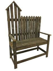 Decorative Bird House Bench With Back And Arms From Reclaimed Tobacco Lath Board