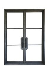 Wrought Iron Double Entry Door,72'x96'',with Insulated Low-e Double Glass