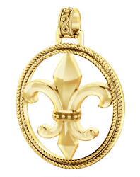 New Menand039s 1 1/2in 10k Or 14k Yellow Gold Fleur-de-lis Braided Pendant