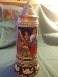 House Of Global Art West German Lidded Beer Stein Music A Jolly Song Makes The