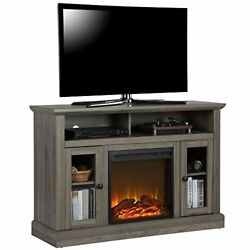 Ameriwood Home 1764895com Chicago Tv Stand With Fireplace, Rustic Gray