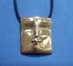 Rare 1960and039s Modernist Abstraction Creation 14k Solid Face /musk Pendant Signed