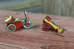 Vintage Tin Litho Toy Lot of 2 Wind Up Airplane and Tricycle Parts or Repair