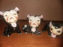 VTG JAPAN 2 BULLDOGS -RARE-CERAMIC FIGURINES+CAT