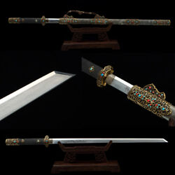 High Quality Fully Rayskin Damascus Blade Chinese Sword 唐刀 Gem Copper Fittings