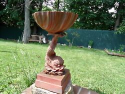 Andnbspantique 19th Century American Cast Iron Bird Bath Font Or Planter With Dolphin