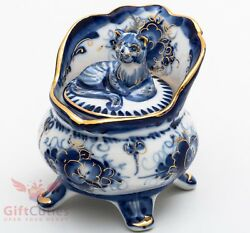 Beautiful Gzhel Porcelain cat kitty trinket box hand painted in blue gold plated