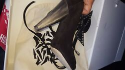 ISABEL MARANT $1105 Milla Bow Tie black suede ankle boots booties 37 - Pre owned
