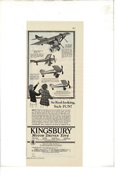 Vintage Youthand039s Companion Kingsbury Motor Toy Airplaines Boys Ad Print C535
