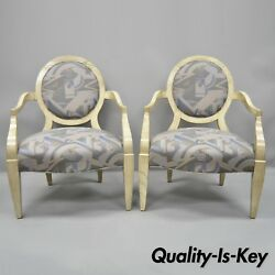 Pair Of Round Back Large Club Lounge Chairs Style Of John Hutton For Donghia