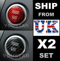 Uk Stock X2 Genuine Carbon Covers Red And Black Mercedes Engine Start Push Button