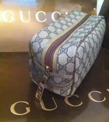GUCCI Vintage GG Logo Leather DOPP KIT Cosmetic Bag Toiletries Travel Case EXCL