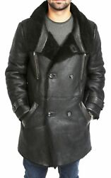 Mens Genuine Sheepskin Reefer Coat 3/4 Long Double Breasted Shearling Trench New