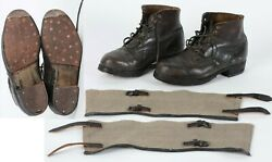 Near Mint Wwii German Wehrmacht Combat Low-boots Ankle Gaiters Usa Gi. Souvenir