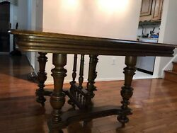 French Oak Extending Table With Six French Oak Chairs Antique French Furniture