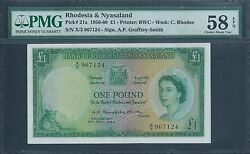 Rhodesia And Nyasaland Andpound1 P21a 2nd July 1956 Pmg 58 Epq About Uncirculated