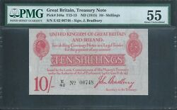 Great Britain 10/- Kgv P348a / T12.1 Treasury Note Pmg 55 About Uncirculated