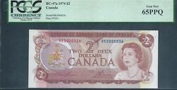 Canada Bank Of Canada 2 1974 Bc-47a Low No. 36 Pcgs 65 Epq Gem New