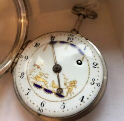 Ipf Fusee Open Face Painted Dial Silver Case Serial 1381 Key Wind Pocket Watch