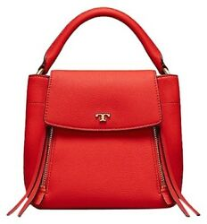 NWT TORY BURCH Half Moon Satchel Crossbody Leather Bag in poppy orange red $398 $249.00
