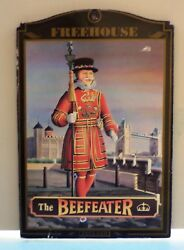 Beefeater Dry Gin Vtg Wooden Sign 8'' X 12'' By Pub World Collectables Series