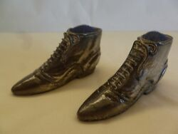 Pair Of Old English Pewter Boots Pin Cushion
