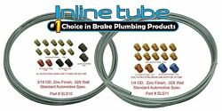 Complete 3/16 And 1/4 Inch Brake Line Kit 25 Ft Rolls With Fittings Zinc Steel
