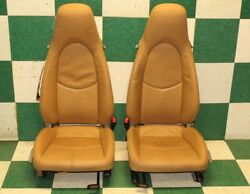 2006-2012 Cayman Pair Tan Leather Driver Passenger Left Right Manual Bucket Seat