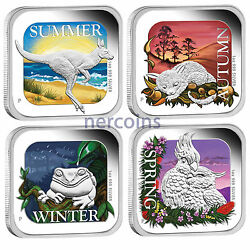 Seasons Of Australia 2013 Perth Mint 1 Pure Silver Square Proof Coins Set Of 4