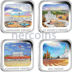 Tuvalu 2013 Worldand039s Famous City Squares Complete 4-coin Set Pure Silver Proof