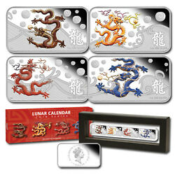 Year Of The Dragon Cook Islands 2012 Silver 4 X 1 Proof Coin Set Perfect