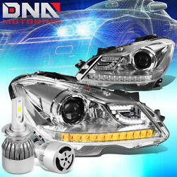 CHROME HALO PROJECTOR HEADLIGHT+WHITE LED H7 HID WFAN FIT 12-14 C-CLASS W204