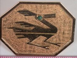 18k Yellow Gold Native Road Runner Pin With Turquoise Eye