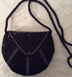 Beaded Evening Bag Black And Silver Shoulder Strap $8.00