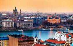 Hungary Budapest Cities Skyline Cathedral Cityscape Painting Printed On Canvas