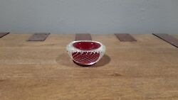 Vintage Seguso Murano Glass Red Somerso Geode Bowl