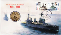 2011 Centenary Royal Australia Navy Stamp First Day Cover Perth Mint 1 Coin Pnc