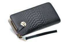 Korean Style Soft Lady Purse Long Clutches Genuine Leather Zipper Wallet with Cr