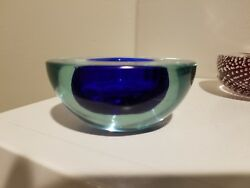 Vintage Blue Murano Glass Geode Bowl By Archimede Seguso