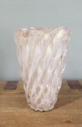Large Vintage Barovier Murano Art Glass Vase In Pink And Gold Aventurine