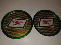 Miller High Life Beer Metal Plate/dish Set Of 2 Trays Green/gold Milwaukee Wi