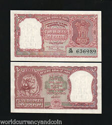 India 2 Rupees P-28 1949 Tiger Rama Rau Sign Unc Bill Currency Animal Wild Note