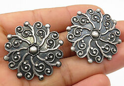 CII MEXICO 925 Silver - Vintage Spinning Swirl Designed Clip-On Earrings - E3322