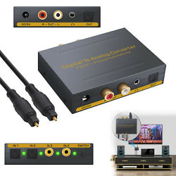 4Ports Digital to Analog Optical Toslink Audio Converter LR RCA Stereo Switcher
