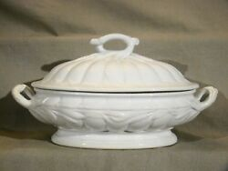 Antique Staffordshire White Ironstone Ceres Shape Oval Large Tureen And Cover