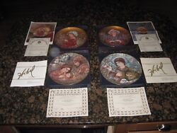 Edna Hibel Collector Plates The Nativity, Peaceful Kingdom, Camelle And Iris