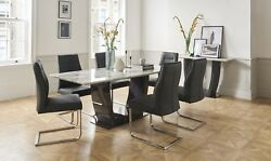 Grey Marble Dining Table And 6 Charcoal Dining Chairs W160cm X D95cm X H76cm Lucy