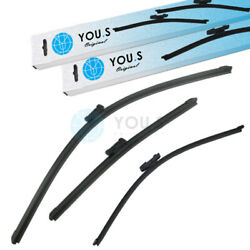 YOU.S Windshield Wiper Blades Set Front+Rear for Seat Skoda