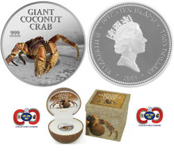 Pitcairn Island 2013 Giant Coconut Crab 2 1 Oz Pure Silver Coin Perfect