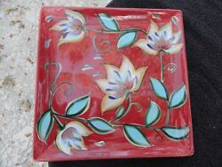 Gail Pittman Southern Living At Home Red Bountiful Flowers Square Platter